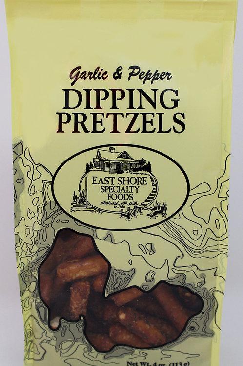 PG4 4oz East Shore Garlic and Pepper Dipping Pretzels 18/case $2.28 each $41.04/
