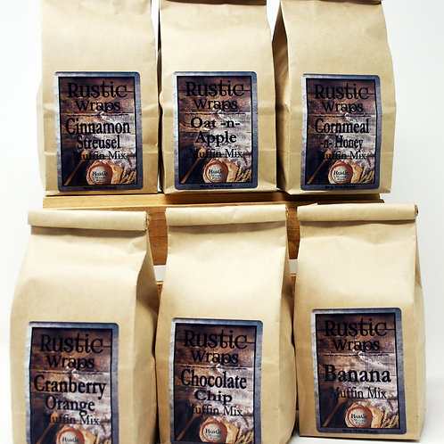 #WC5010 Rustic Wraps Muffin Mix Assortment 1of each flavor 16 oz each, 6/Case $4