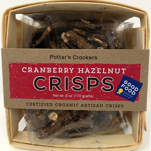 #7600 6oz Potter's Crisps Cranberry Hazelnut Cracker $5.25@