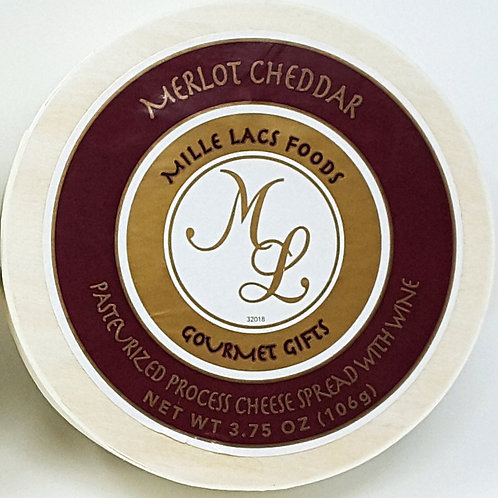 #ML43204 3.75oz Mille Lacs Merlot Cheddar Cheese Hoop 48/case $2.45 each