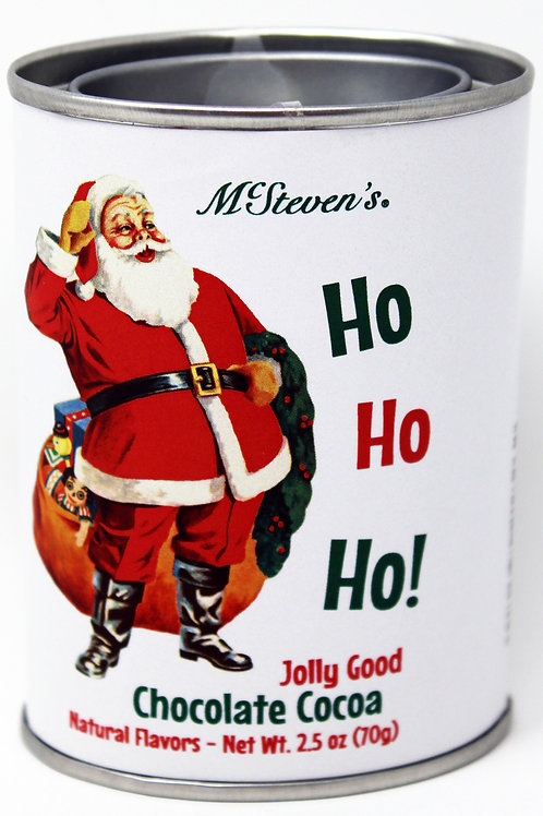 #2535 2.5oz Ho, Ho, Ho, Santa Jolly Good Cocoa Mix Tin McStevens $3.25@