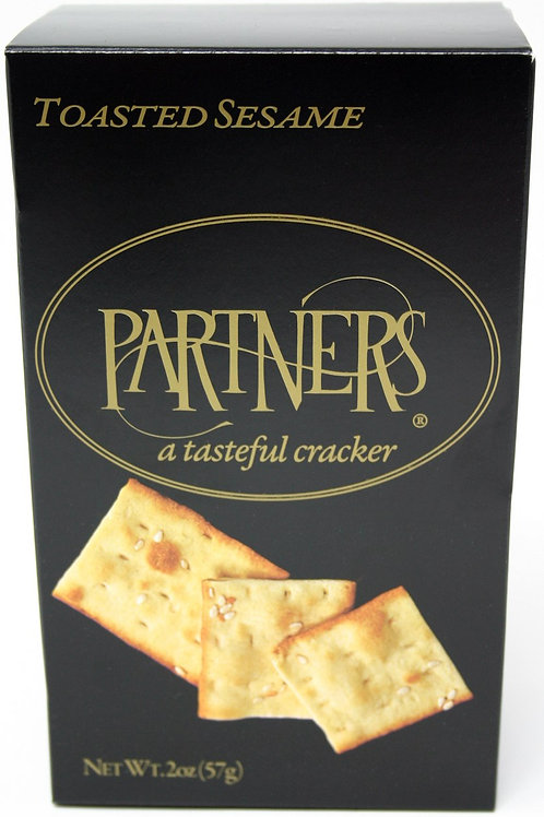 #8179 2oz Partners Toasted Sesame Crackers in Black box $1.64@ case 12