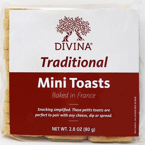 8101 2.8oz Divina Traditional Mini Toasts 24/case  Product of France $1.57 each