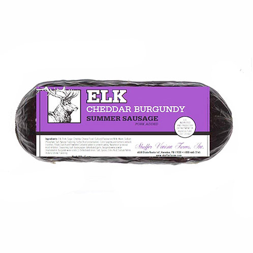 #5081 6oz Elk Cheddar Burgundy Sausage 25/Case, $5.25 each