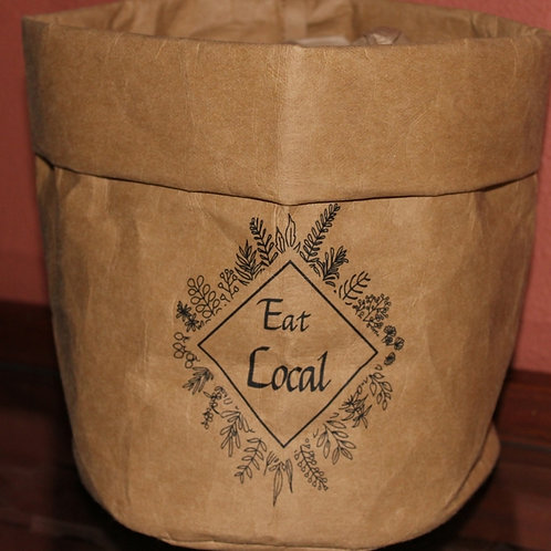 #EL001-9919 Eat Local Washable Paper Bag great for Store & Gift designs