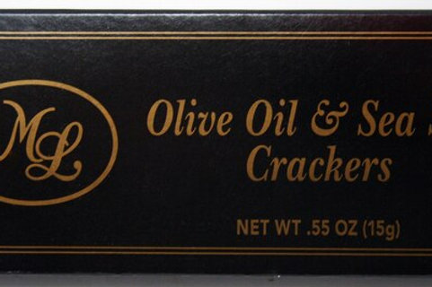 #ML43318 0.55oz Olive Oil & Sea Salt Crackers- Black Box 50/cs $0.70each