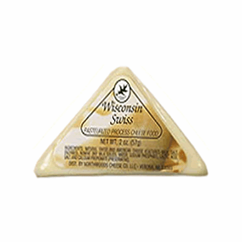#1039 2oz. Wisconsin Swiss Cheese Triangle Shelf Stable Cheese.