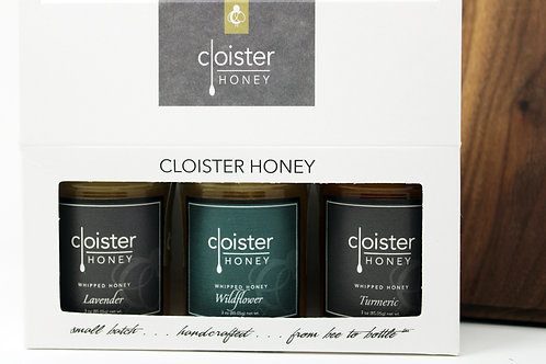 #CHG07 Honey Trios 3oz taster-sized jars Gift Set case 3