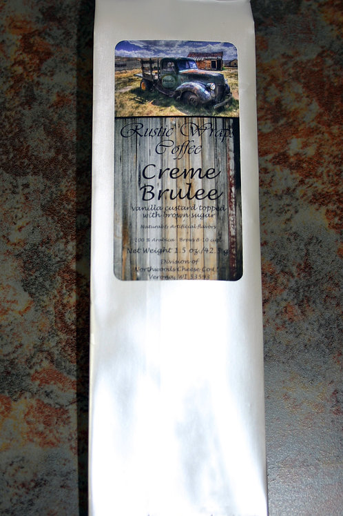 #8504 1.5oz Rustic Wraps Creme Brulee Coffee Silver Wrap 12/case