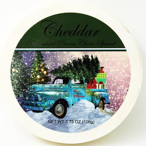 #1145Xmas 3.75oz NEW Cheddar Cheese Spread Hoop Truck Design 24/case $2.50@