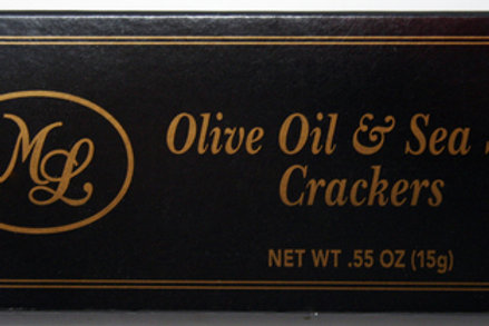 #ML43318 0.55oz Olive Oil & Sea Salt Crackers- Black Box  50/cs $0.70each $35.00