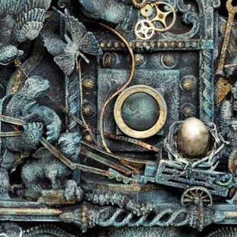 The Cosmic Egg_Detail shot_Sold__#cosmicegg #art #assemblage #sculpture #3dart #miniature #mixedmedi