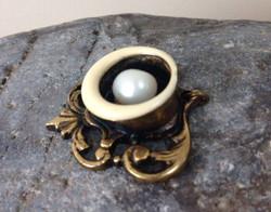 Brass, Enamel, Pearl