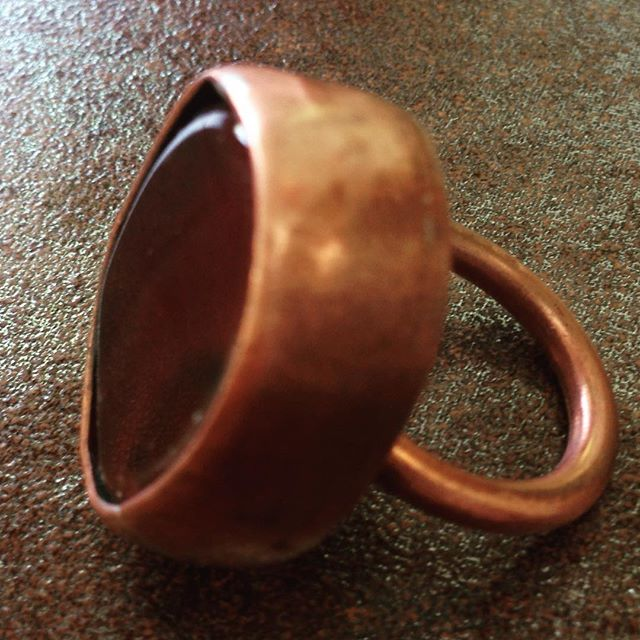 Cornelian brass copper ring