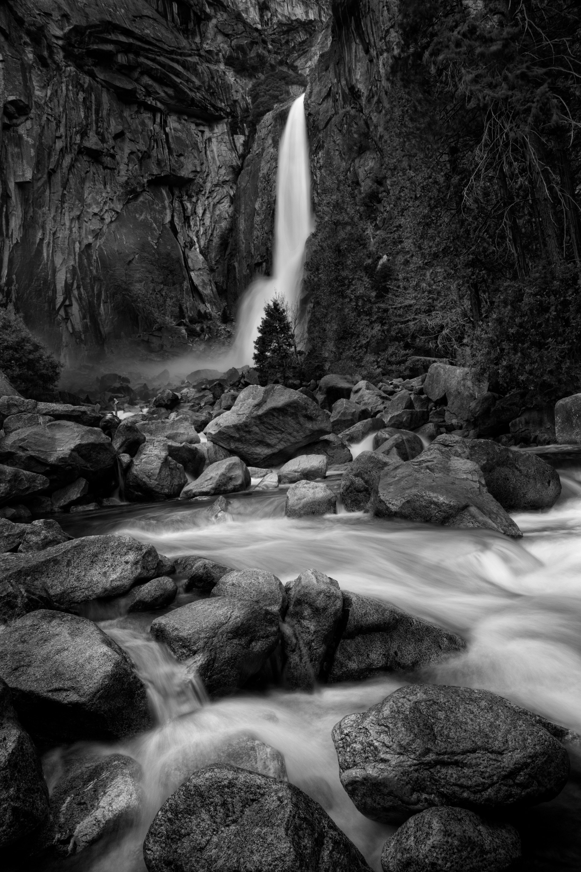 Yosemite Waterfall B/W