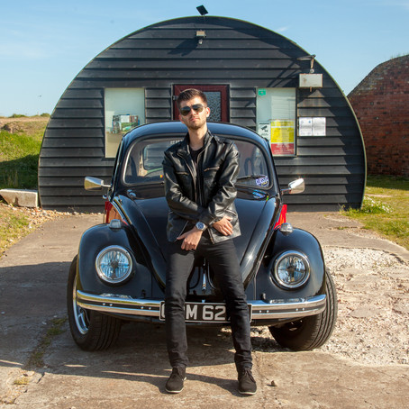 Lewis and his 1973 VW Beetle at Shoreham Fort