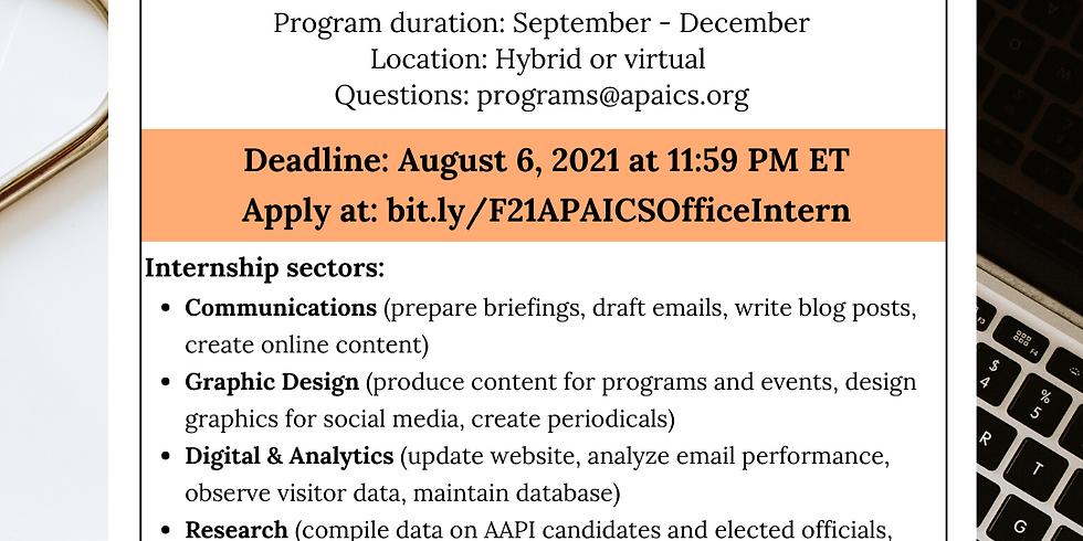 2021 Fall Office Internship Deadline