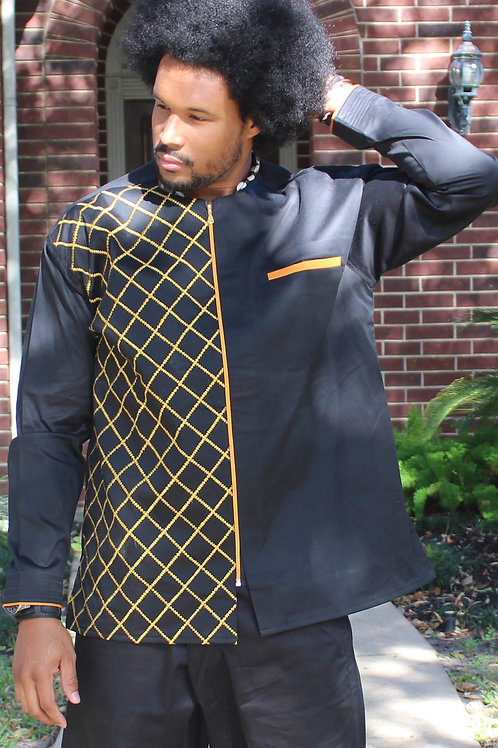 Men's Black and Gold Checkered Top