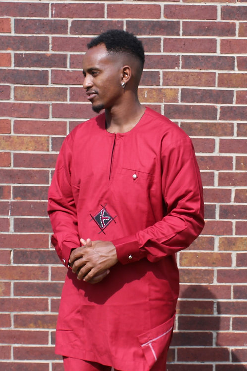 Maroon Men's Two Piece with Black Embroidery