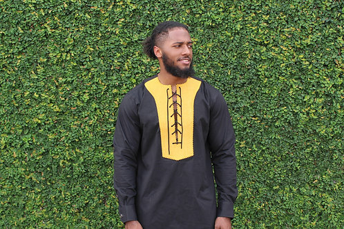 Embroidered Lace Up Men's Top