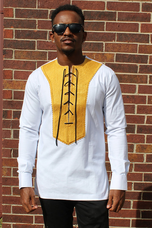 Men's Embroidered Lace Up Top
