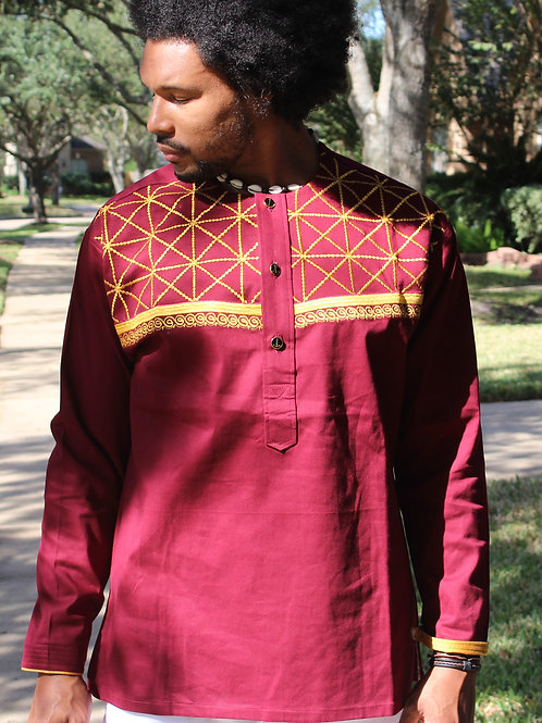 Men's Burgundy top with Gold Embroidery