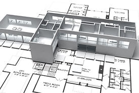 Building plans and 3d model of house with party walls