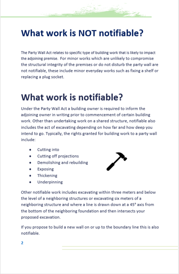 Notifiable work under the party wall act?