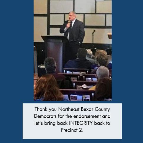 Speaking at Northeast Bexar County Democrats