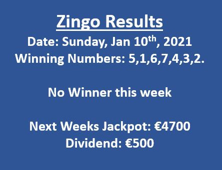Zingo Results - Jan 10th, 2021