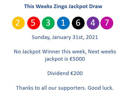 This Weeks Zingo Results  -31.01.2021