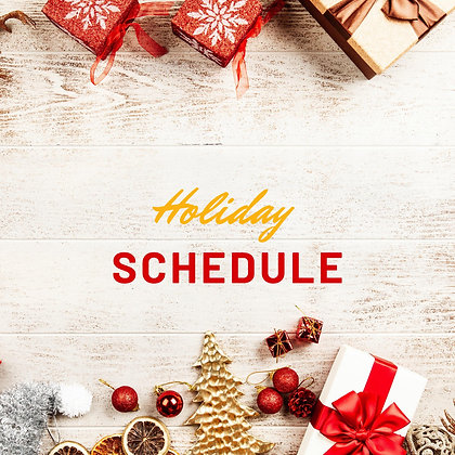 Editable Holiday Schedule