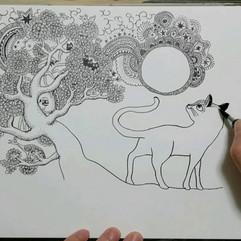 月を見る猫