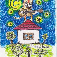屋根の上のギターねこ
