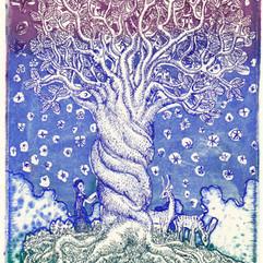 溶け合う木