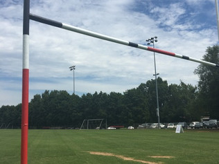 RUGBY GOALPOSTS FRESHLY PAINTED