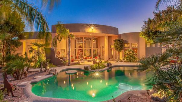 Ahwatukee  Custom Home - Backyard with palm trees and beautiful pool