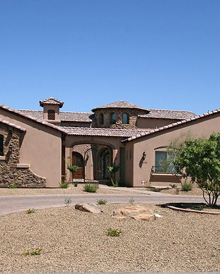 front of tuscan style custom home