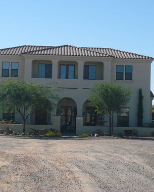 front of mission palm springs style custom home