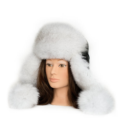 Blue Fox Fur Hat - with Pom Poms
