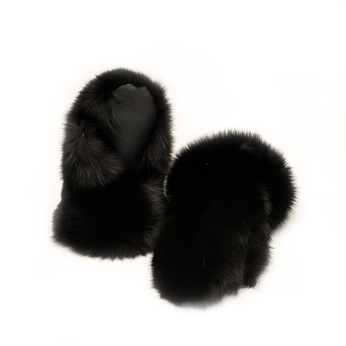 Black Fox Fur Mitts - Ladies