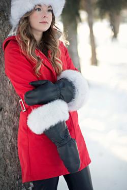 Leather Mitts Blue Fox Fur Trim