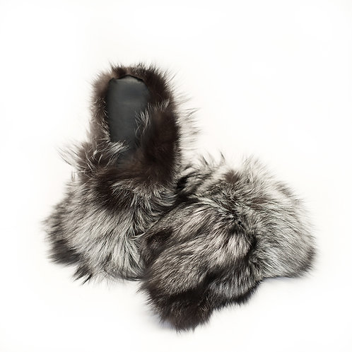 Silver Fox Fur Mitts - Ladies