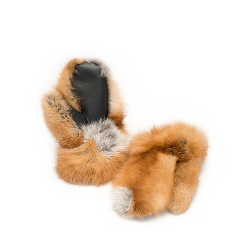 Red Fox Fur Mitts - Ladies