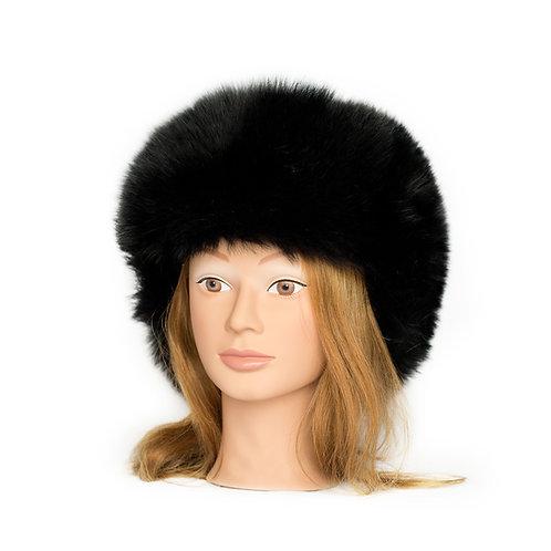 Black Fox Fur Hat - Leather Top