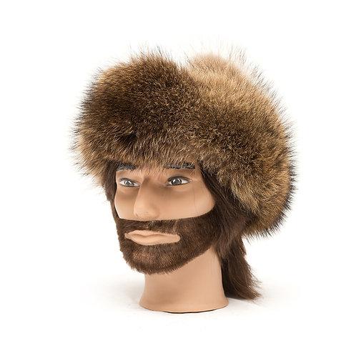 Raccoon Fur Hat - Leather Top