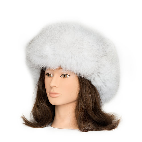 Blue Fox Fur Hat - Leather Top