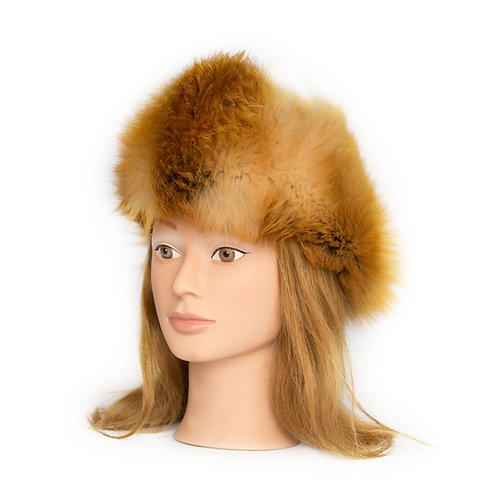 Red Fox Fur Hat - Leather Top