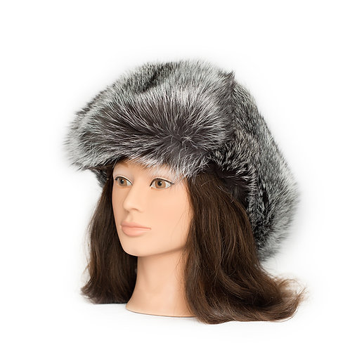 Silver Fox Fur Hat - Leather Top