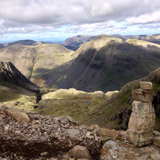 Kirk Fell and Great Gable from Broad Crag, Scafell Pike.